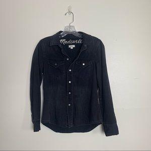 madewell / black denim button-up shirt